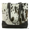 Large Cowhide Tote - Chocolate & White