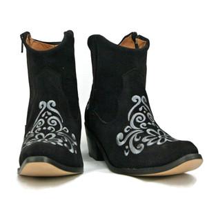 Ankle boot - Vintage Floral design - Black w/ Dk. Grey