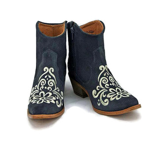 Ankle boot - Vintage Floral design - Grey w/ Cream