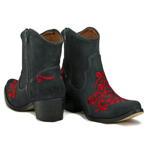 Ankle boot - Vintage Floral design - Grey W/ Red