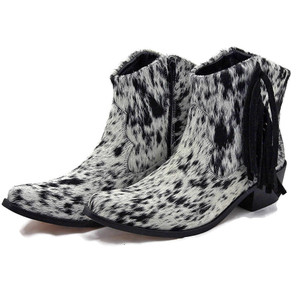 Ankle Boots - Salt and Pepper Cowhide with Fringe