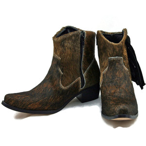 Ankle Boots - Brindle Cowhide with Fringe
