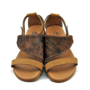 Marie Cowhide Sandals - Brindle and Mustard