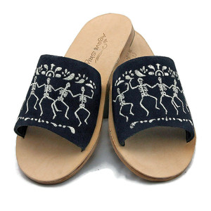 Embroidered Flats - Dancing Bones Design