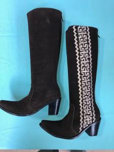 Size 6 Tall boots - Chocolate w/ Tan Stitch Azteca design