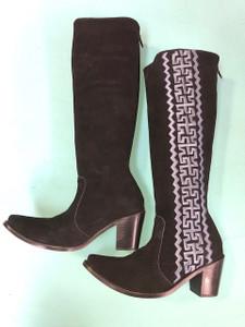 Size 6 Tall boots - Black w/ Grey Stitch Azteca design