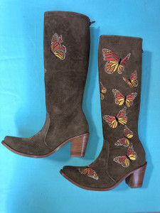Size 7 Tall boots - Butterfly design in Honey