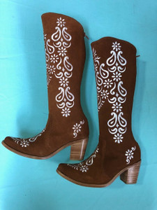 Size 6 Tall boots - Rust and Cream Margarita design