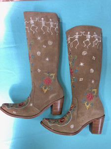 Size 8 Tall boots - Dancing Bones design in Sand