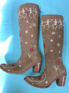 Size 8.5 Tall boots - Dancing Bones design in Sand