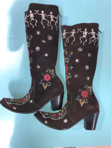 Size 8.5 Tall boots - Dancing Bones design in Chocolate