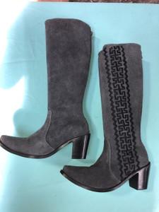 Size 8.5 Tall boots - Grey w/ Black stitch Azteca design
