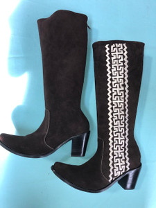 Size 9.5 Tall boots - Chocolate w/ Cream stitch Azteca design
