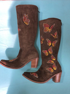 Size 8.5 Tall boots - Butterfly design in Honey