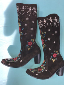 Size 10.5 Tall boots - Dancing Bones design in Chocolate