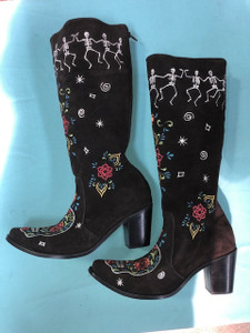 Size 11 Tall boots - Dancing Bones design in Chocolate
