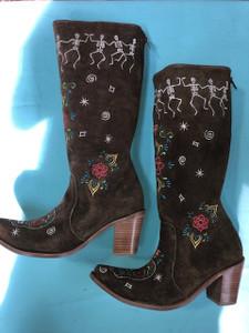 Size 12 Tall boots - Dancing Bones design in Honey