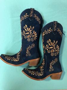 Size 5 Cowgirl boots - Denim w/ Caramel stitch