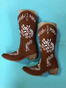 Size 6 Cowgirl boots - Rust w/ White stitch