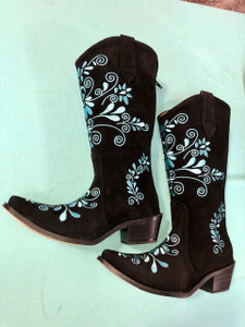 Size 6.5 Cowgirl boots - Black w/ Turquoise stitch