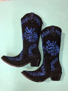 Size 6.5 Cowgirl boots - Black w/ Cobalt stitch