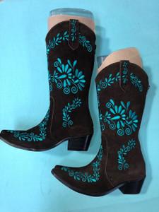 Size 6.5 Cowgirl boots - Chocolate w/ Jade stitch