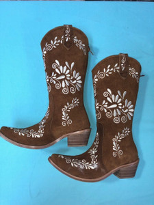 Size 6.5 Cowgirl boots -Tobacco w/ Creamstitch