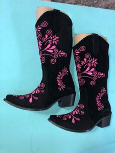 Size 7 Cowgirl boots - Black w/ Pink stitch