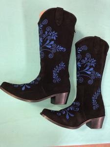 Size 8 Cowgirl boots - Black w/ Cobalt stitch