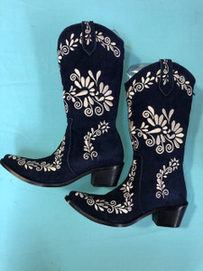 Size 9.5 Cowgirl boots - Navy w/Cream stitch