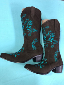 Size 9.5 Cowgirl boots - Chocolate w/Jade stitch