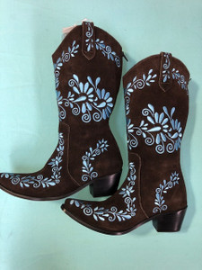 Size 10 Cowgirl boots - Chocolate w/Blue stitch