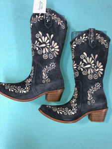 Size 10 Cowgirl boots - Grey w/Cream stitch