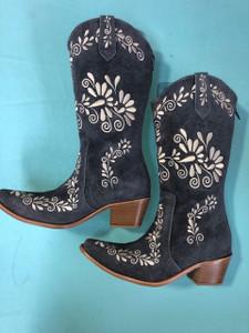 Size 10.5 Cowgirl boots - Grey w/Cream stitch