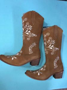 Size 10.5 Cowgirl boots -Sandw/Cream stitch