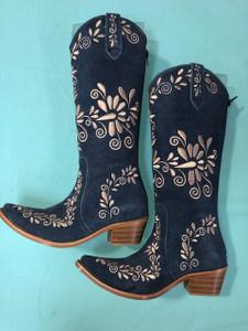 Size 6.5 Slim boots - Denim w/ Tan stitch