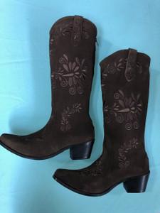 Size 10.5 Slim boots - Chocolate w/ Chocolate stitch