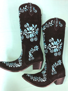 Size 10.5 Slim boots - Black w/ Turquoise stitch
