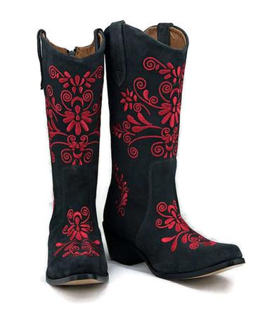 Jasmine Cowgirl Grey w/Red Stitch