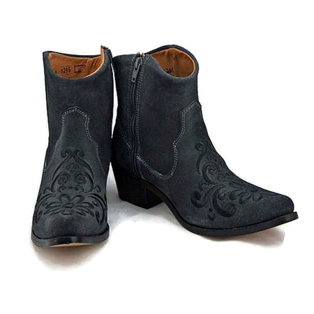 Ankle boot - Vintage Floral design - Grey w/ Black