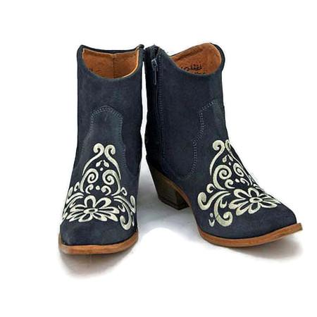 Ankle boot - Vintage Floral design - Grey w/ Cream