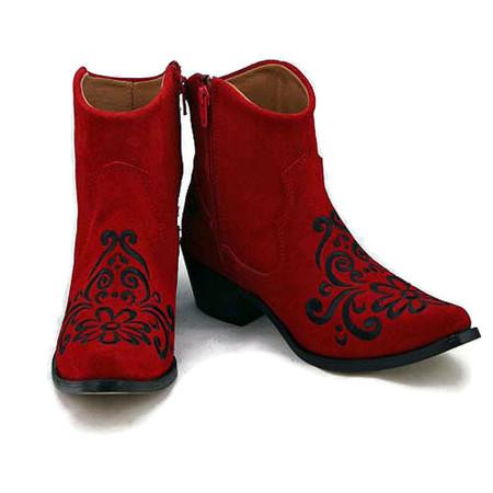 Ankle boot - Vintage Floral design - Red w/Black