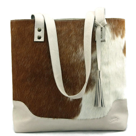 Large Cowhide Tote - Rust & White