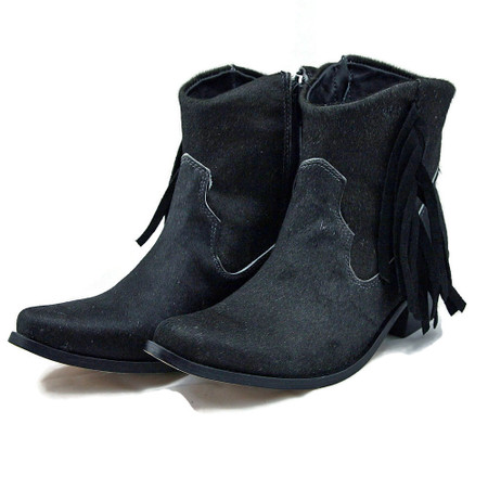 Ankle Boots - Black Cowhide with Fringe