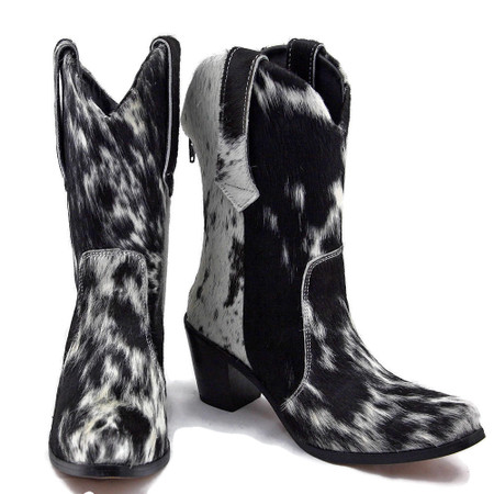 Mid Calf Boots - Salt and Pepper Cowhide