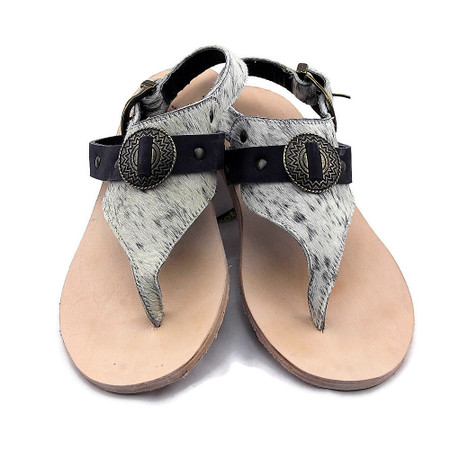 Connie Cowhide Flats - Salt & Pepper