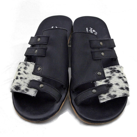 Angie Cowhide Flats - Black & White