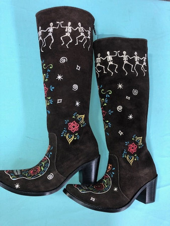 Size 6.5 Tall boots - Dancing Bones design in Chocolate