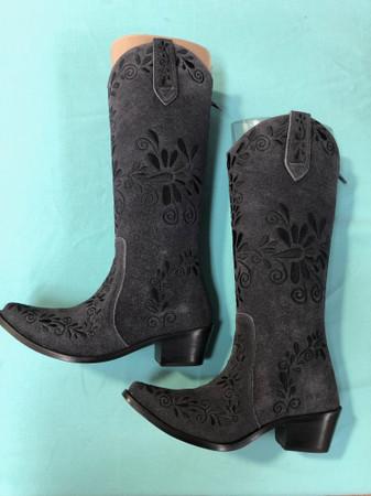 Size 5 Slim boots - Grey w/ Black stitch