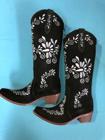 Size 7.5 Slim boots - Olive w/ Cream stitch